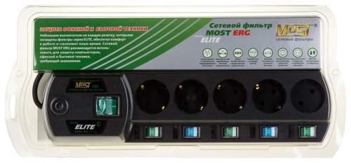 Сетевой фильтр MOST ЕRG 5, 5 розеток, 2 м, Black