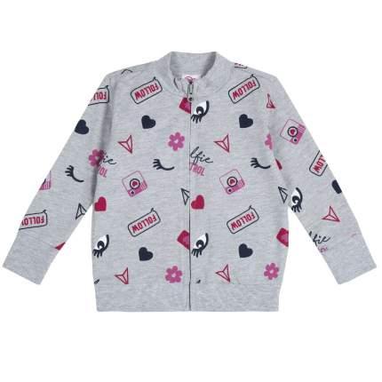Толстовка для девочек Chicco Глазки, цвет серый, размер 110