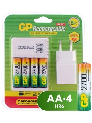 Зарядное устройство GP + аккумуляторы АА (HR6) 2700 мАч, 4 шт + сетевой адаптер