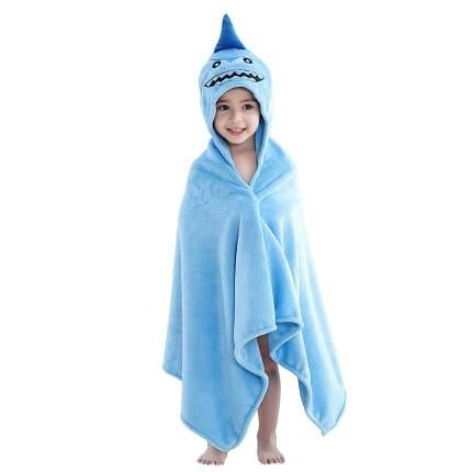 Детское полотенце с капюшоном Baby Fox Акула, цвет голубой, 60х120 см