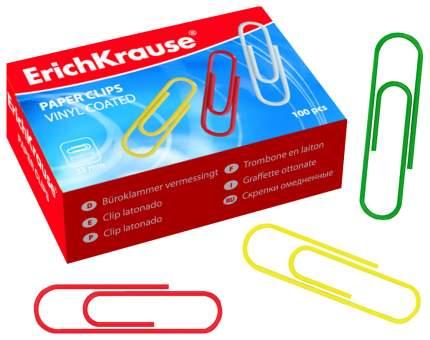 Скрепки металлические с виниловым покрытием ErichKrause® цветные, 33мм (коробка 100 шт.)