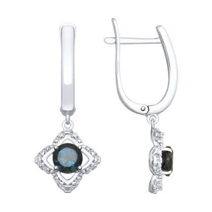 Серьги SOKOLOV из серебра с синими топазами и фианитами 92021942