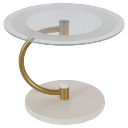 Журнальный столик Мебелик Дуэт 13Н 531 60х60х50 см, золото/слоновая кость/прозрачное