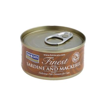 Консервы для кошек Finest Fish4Cats Sardine and Mackerel сардины и скумбрия 70гр (10шт)