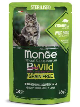 Влажный корм для кошек Monge Cat BWild Grain Free из мяса дикого кабана с овощами 14шт 85г