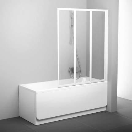 Шторка для ванны VS3 115 белая+транспарент