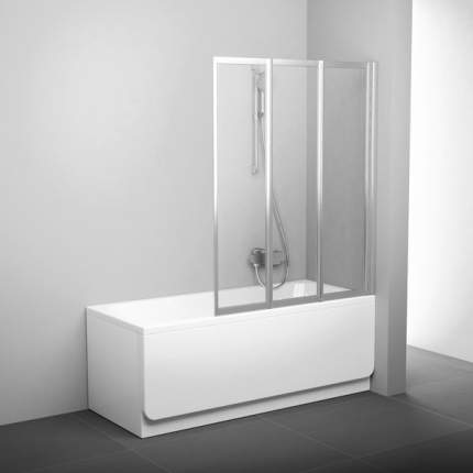 Шторка для ванны VS3 100 сатин+транспарент