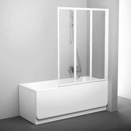 Шторка для ванны VS3 100 белая+транспарент
