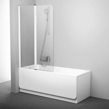 Шторка для ванны CVS2-100 белый+транспарент левая