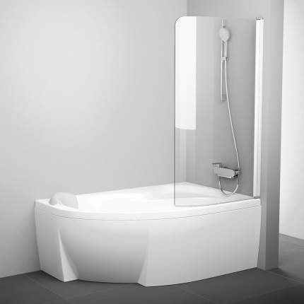 Шторка для ванны CVSK1 Rosa 160/170 P белая+транспарент