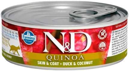 Консервы для кошек Farmina N&D Quinoa, беззерновые, с уткой, кокосом и киноа, 12шт по 80г