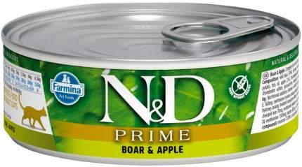 Консервы для кошек Farmina N&D Prime, беззерновые, с кабаном и яблоком, 12шт по 80г