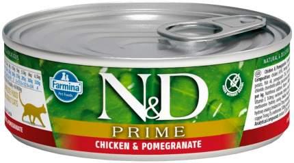 Консервы для котят Farmina N&D Prime, беззерновые, с курицей и гранатом, 12шт по 80г