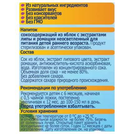 Сок ФрутоНяня Яблоко с экстрактами ромашки и липы с 6 мес 200 мл