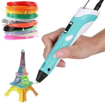 3D ручка RP100B с набором пластика ABS-150м. Цвет ручки: голубой