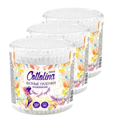 Ватные палочки Cottolina 100 шт банка (в упаковке 3 штуки)
