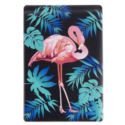 Обложка для проездного Kawaii Factory KW065 Фламинго черная