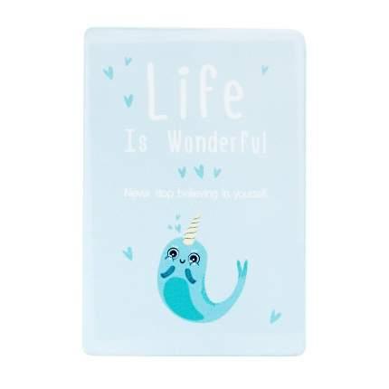 Обложка для проездного Kawaii Factory KW065 Life is unicorn-fish голубая