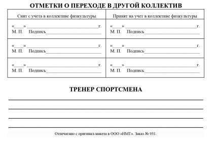 Зачетная классификационная книжка спортсменов I разряда, кандидатов в мастера спорта, м…
