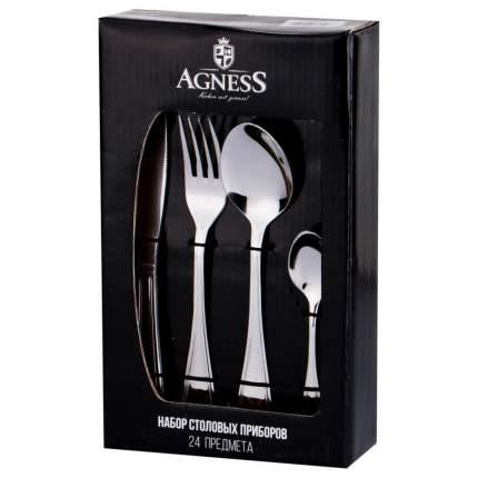 Набор столовых приборов AGNESS, 24 предмета, без орнамента