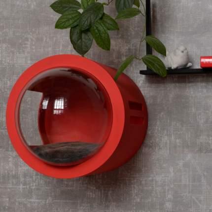 Домик для кошек PetsApartments капсула, настенный, красный, M, 50х37х37 см