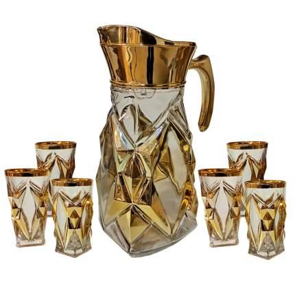 Набор для напитков Геометрический золотистый узор, графин и 6 стаканов, стеклянный