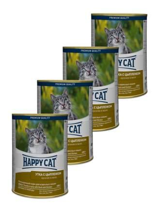 Консервы для кошек Happy Cat, утка с цыпленком, 4шт по 400г