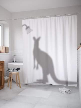Штора (занавеска) для ванной «Душевая кенгуру» из ткани, 180х200 см с крючками