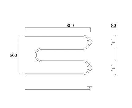 Водяной полотенцесушитель Роснерж М образный M101000 50x80
