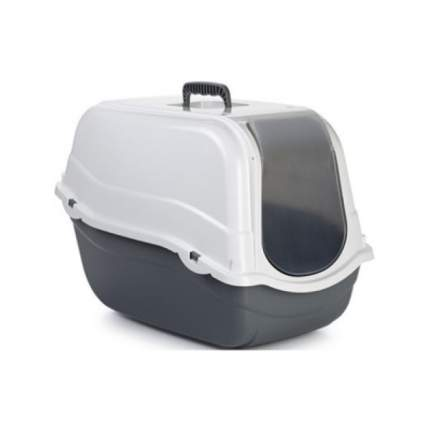 Туалет для кошек Beeztees Romeo, прямоугольный, серый, белый, 54х33х42 см