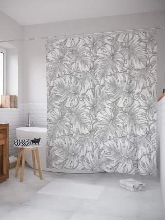 Штора для ванной «Нарисованные тропические листья»  180х200 см