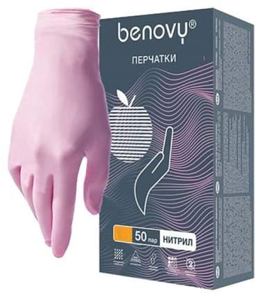 Розовые нитриловые перчатки BENOVY размер M 100 шт.50 пар Rubber Tech Ltd