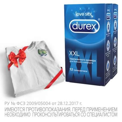 Презервативы Durex XXL 2 упаковки по 12 шт. + фирменная футболка Durex в подарок