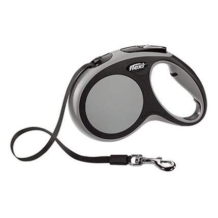 Поводок-рулетка Flexi New Comfort M до 25 кг, лента 5 м, черный-серый