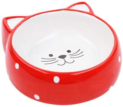 Миска в форме мордочки кошки №1 керамическая ( красный/горох), 120 мл