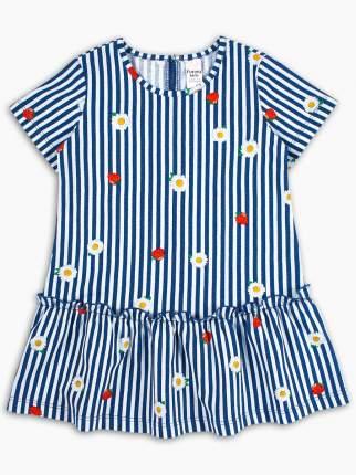 Платье с коротким рукавом Веселый малыш Камила с оборкой, синий, р. 104
