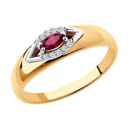 Кольцо женское SOKOLOV из золота с бриллиантами и рубином 4010603 р.18