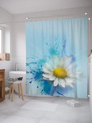 Штора (занавеска) для ванной «Нежный цветок» из ткани, 180х200 см с крючками