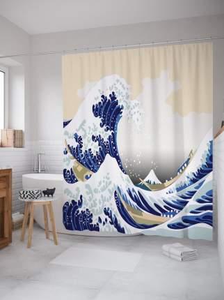Штора (занавеска) для ванной «Волна в Канагаве» из ткани, 180х200 см с крючками