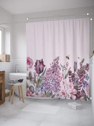 Штора (занавеска) для ванной «Цветы акварелью» из ткани, 180х200 см с крючками