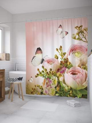 Штора (занавеска) для ванной «Бутоны цветов» из ткани, 180х200 см с крючками
