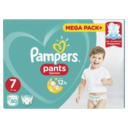 Трусики Pampers Pants 17+ кг, размер 7, 80 шт.