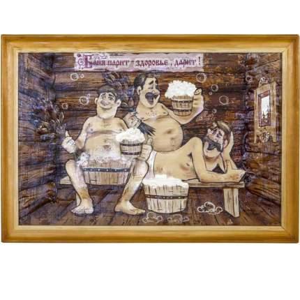 """Картина берестяная """"Трое в бане с пивом"""", №11А, 60х40см (Наш Кедр) 1393"""