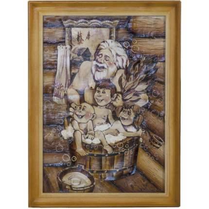 "Картина берестяная ""Старик и дети"", №6Г, 50х35см (Наш Кедр), 1399"