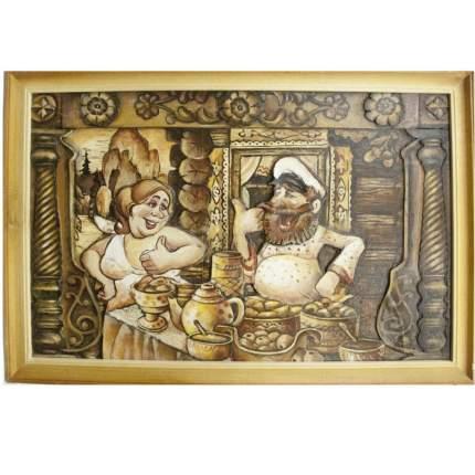 """Картина берестяная """"С милым рай в шалаше"""", № 1Н, 60х40см (Наш Кедр), 5257"""
