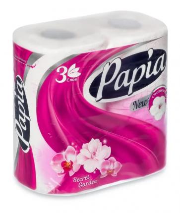 Туалетная бумага PAPIA Таинственный Сад 3 слоя 4 рулона