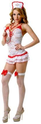 Кружевной костюм медсестры бежевый с красным XL/XXL Le Frivole