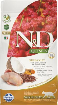 Сухой корм для кошек Farmina N&D Skin & Coat Adult Quinoa, перепел и киноа, 5кг