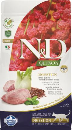 Сухой корм для кошек Farmina N&D Digestion Adult Quinoa, ягненок и киноа, 5кг