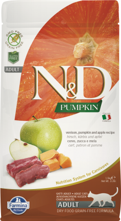 Сухой корм для кошек Farmina N&D Adult Pumpkin, беззерновой, оленина, тыква и яблоко, 5кг